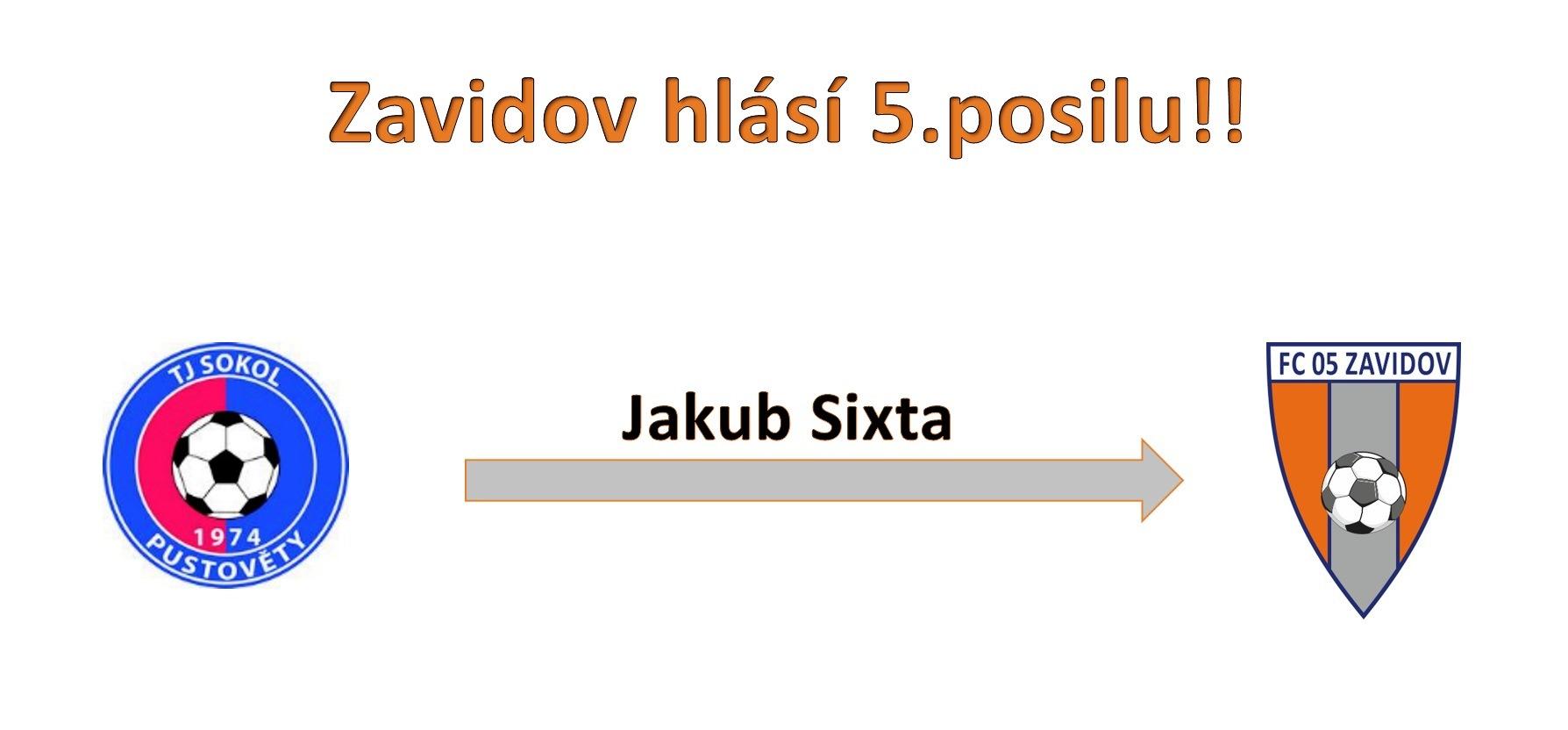 Jakub Sixta další posilou Zavidova